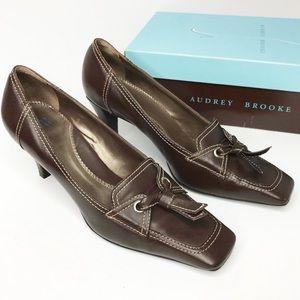 AUDREY BROOKE Brown Leather Pumps Tassels Size 8